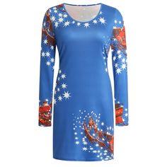 Rochie cu imprimeu de Crăciun, cu decolteu rotund – Kico Bodycon Dress, Tunic Tops, Contents, Autumn, Royal Blue, Purple, Lady, Long Sleeve, Viola