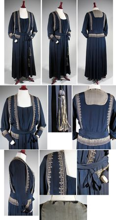 """1918-1919 Navy Silk Crepe Dress with Ethnic Embroidery """"The bodice has a vestee overlay heightened by the embroidery, which is place at the skirt yoke and deep sleeve cuffs. The waist is finished with a very long self sash with cream and navy tassel ends. The dress has a structured interior bodice in cotton, with a wide stiff waist band and hook and eye closures. The full skirt is pleated all around on the dropped yoke."""""""