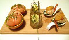 Vistrio - Zalmbonbon, makreelsalade en gegrilde coquille #glutenvrij #lactosevrij #koemelkvrij  Fishtrio - amuses of salmon, mackerel & coquille #glutenfree #lactosefree #dairyfree #cowsmilkfree