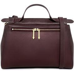 Karen Walker - Chloe Satchel Bag (635,720 KRW) ❤ liked on Polyvore featuring bags, handbags, brown purse, leather satchel, brown satchel handbag, doctor bag and leather gladstone bag