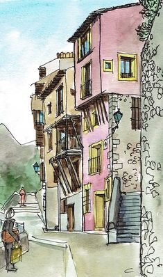 Watercolor Projects, Watercolor Sketch, Watercolor Paintings, Watercolors, Palestine Art, Watercolor Architecture, Funky Art, Building Art, Landscape Drawings