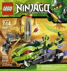 "LEGO Ninjago 9447 Lasha's Bite Cycle by LEGO Ninjago. $24.97. Includes blacksmith forge. Features flick missiles and whipping tail. Blacksmith forge measures over 15"" (6cm) long, 2"" (5cm) wide and 3"" (8cm) tall. Weapons include Venomari fang blade with green anti-venom capsule, golden weapon and 5 regular weapons. Whip the Bite Cycle's tail.. From the Manufacturer                Slither away with the fang blade on Lasha's Bite Cycle! At the blacksmith shop, Cole..."