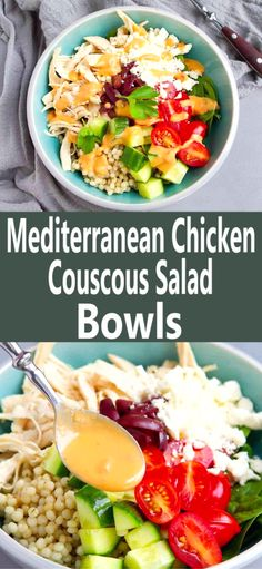 Easy meal for 2 (can be doubled or tripled)! These healthy Mediterranean Chicken Couscous Salad Bowls are drizzled with a delicious hummus dressing. 375 calories and 8 Weight Watchers SP | Recipes healthy | Easy | Homemade | Greek | Rotisserie Chicken | Poached Chicken Breast #saladbowlrecipes #chickenandcouscous #mediterraneanchicken #chickensalad #greekchicken #weightwatchers