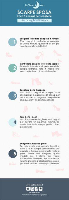 #iconsiglidellaluna Scarpe sposa: ecco 5 consigli per sceglierle #infografica #wedding #matrimonio #infografiche #scarpe #sposa