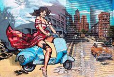 vespa Vespa Et2, Motos Vespa, Vespa Girl, Vespa Lambretta, Mini Bike, The Most Beautiful Girl, Scooters, Advertising, Paintings
