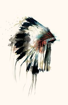 Native American Indian headdress watercolor