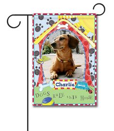 """Dogs Rule This House Photo Garden Flag: Flag Size: 12.5"""" x 18"""" Flag stand sold separately Proudly Printed in the USA Vibrant colors printed on a poly/cotton outdoor quality fabric. Digitally print"""