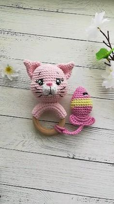 Teething ring crochet pattern, baby rattle Amigurumi pattern Amigurumi pattern Rattle for a baby Cat Chat Crochet, Crochet Baby Toys, Crochet Girls, Crochet Toys Patterns, Crochet Patterns Amigurumi, Stuffed Toys Patterns, Baby Knitting, Cat Amigurumi, Jellyfish Light