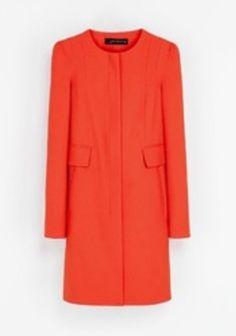 Nacarat Plain Long Sleeve Cotton Blend Wool Coat