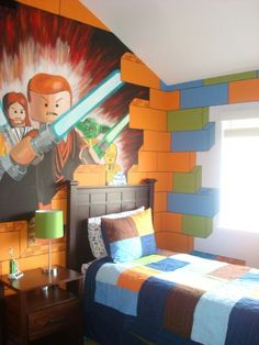 crazy lego room with star wars mural... hubb'z to do list for the boys....  Here is the rest of the star wars mural. Yoda, C-3po and R2D2 are just above the headboard.The stacked legos frame the window
