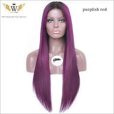 210.06$ Buy now - http://alirkb.worldwells.pw/go.php?t=32529763896 - 5A 150 Density Full Lace Purple Human Hair Wigs/Lace Front Human Hair Wig Dark Root Purple Ombre Wig Rosa Hair Product 210.06$