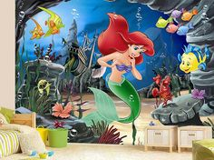 Hey, I found this really awesome Etsy listing at https://www.etsy.com/listing/228819215/little-mermaid-wall-mural-ariel-mural