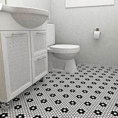 SomerTile Victorian Hex 1-inch Flower Porcelain Mosaic Tile (Pack of 10) - Free Shipping Today - Overstock.com - 15043722 - Mobile