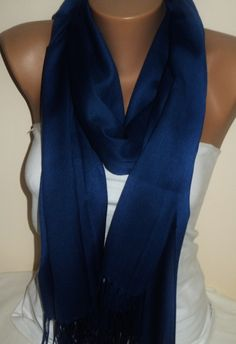 A personal favorite from my Etsy shop https://www.etsy.com/listing/185562569/dark-blue-scarffringed-scarf-light