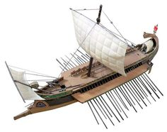 A Roman war ship–a trireme. Sometimes these carried up to a hundred legionaries and a catapult.