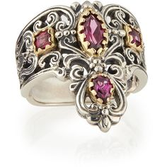 Konstantino Silver & 18k Gold Rhodolite Pointed Scroll Ring (€730) ❤ liked on Polyvore featuring jewelry, rings, silver jewelry, handcrafted jewelry, 18 karat gold ring, wide silver band ring and 18k yellow gold ring