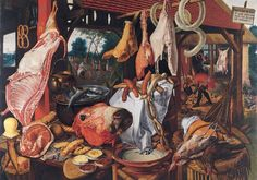Pieter Aertsen, A Meat Stall with the Holy Family Giving Alms, oil on panel 45 x 66 inches / x cm (North Carolina Museum of Art). Other versions include one in the University Art Collections, Uppsala University, Sweden. Juan Sanchez Cotan, Meat Art, Art Occidental, Oil Painting Reproductions, Holy Family, Art Moderne, Tile Art, Oil Painting On Canvas, Canvas Paintings