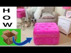 Never waste cardboard after watching it.Real furniture ottoman from cardboard Cardboard Furniture, Cardboard Crafts, Diy Furniture, Paper Crafts, Diy Ottoman, Diy Sofa, Diy Home Crafts, Easy Crafts, Diy Divan
