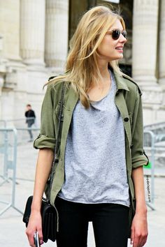 15 Ways To Wear A Green Army Jacket (Le Fashion) - Fashion Trends Mode Outfits, Fall Outfits, Casual Outfits, Green Outfits, Army Outfits, Casual Wear, Summer Outfits, Look Fashion, Autumn Fashion