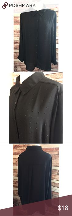 🆕GEORGE BLACK BLOUSE W/EMBELLISHMENT ~ EUC GEORGE BLACK BLOUSE W/EMBELLISHMENT ~ Office to Evening in this beautiful blouse ~ Black bead embellishment ~ Long Sleeve ~ New condition Size 22W-24W 🚫Trades or Holds ✅Use offer option ❤️15% off Bundles George Tops Button Down Shirts