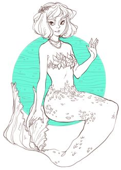 I always draw with really thick lines now so I thought I'd try not to also I keep wanting to draw mermaids