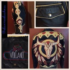 Vintage Ira Hoss Volcano Handmade Leather Jacket Vintage Ira Hoss Volcano Handmade Leather Jacket beautiful Phoenix design on back. These are all special order coats. This one is from one of their first years in business in early 1990s. Size Medium. Excellent vintage condition. Slight scratch on leather on back of bird. See picture 2 lower right. Lining is yellow satin and in perfect condition. Interior pocket at breast. Two outside pockets on front as shown in photos. Retail on these is…