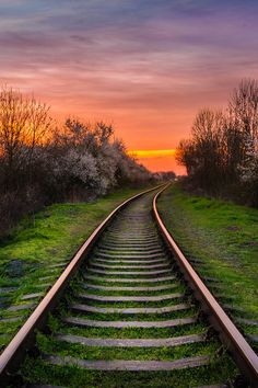 Train tracks at sunset Landscape Photography, Nature Photography, Old Trains, Photo Background Images, Train Pictures, Train Tracks, Image Hd, Nature Pictures, Belle Photo