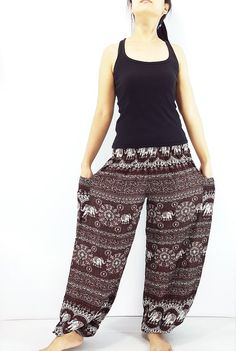 ST99 Thai Women Clothing Comfy Rayon Bohemian Trousers Hippie Baggy Genie Boho Pants Elephant Brown Maxi Pants, Harem Trousers, Trousers Women, Gypsy Pants, Boho Pants, Hippie Boho, Bohemian Style, Genie Pants, Aladdin Pants