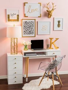silver and gold bedroom. purple and gold bedroom ideas. black and gold room gold room decor black red and gold bedroom ideas gold themed bedroom. White Desk Office, Small Office, Office Den, Office Nook, Black Office, Office Setup, Office Workspace, Office Style, Acrylic Chair