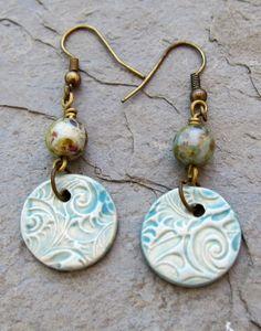 Rustic ceramic earrings from Linda Landig Jewelry