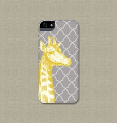 Fun iPhone 5 Case, Yellow and Gray iPhone 4 / 4S, Giraffe Galaxy S3 / S4, or iPod Touch Cover $26.00