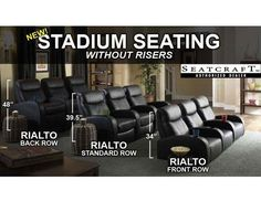 Seatcraft Rialto Home Theater Seating ~ This is the same theater seating that we have in our basement theater room. We have four of the standard and four of the back row. We've had it for about five years and have been very pleased with it. Best Home Theater, Home Theater Setup, Home Theater Seating, Home Theater Design, Theater Seats, Movie Theater Rooms, Home Cinema Room, Theatre Rooms, Kino Theater