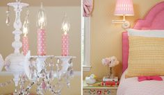 Adorable detail on the chandelier/ cute bright pink upholstered headboard Pink Bedroom For Girls, Pink Room, Little Girl Rooms, Girly Girls, Cute Girl Wallpaper, Pink Wallpaper, Girls Chandelier, Chandeliers, Autumn Room