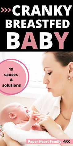 "Have a cranky breastfed baby? Whether you're dealing with a cranky baby at night, while breastfeeding or whenever, this post will help you to decide WHAT is causing your baby's crankiness and will tell you how to stop it. These tips on how to calm a cranky baby are super helpful! ""Wow, thank you so very much for writing this. My twins are 3 weeks old and you wrote about many of the things that I've had concerns about! """