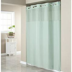 Hookless Sage Green Mystery Polyester Shower Curtain.
