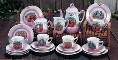 Childs antique German Porcelain Tea Service with Amusing Pig Theme.