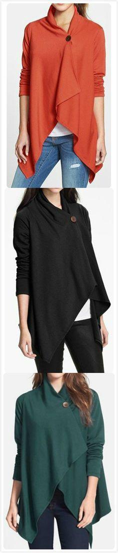 Casual Long Sleeve One Button Irregular Outwear