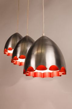 Anonymous; Spun Aluminum and Enameled Metal Ceiling Lights by Doria, 1960s.