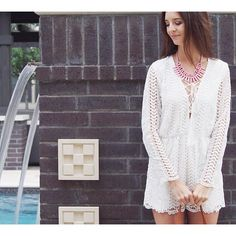 White Lace Romper on the blog. https://myviewinheels.com/2016/05/09/white-lace-romper/