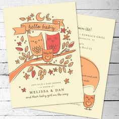 Baby Owl - Shower Invitations for new Mom and Dad // Printable, DIY, Customizable // Hand-Drawn Owl Family/ Woodland Theme.