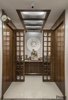 Amazing Praying Room Design Ideas To Bring Your Ramadan More Beautiful 30 Pooja Room Door Design, Home Room Design, Home Interior Design, Living Room Designs, Design Interiors, Temple Design For Home, Mandir Design, Room Partition Designs, Bungalow House Design