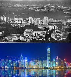 Then: Hong Kong's skyscraper boom had not yet started in the 1960s. Now: Hong Kong Island now has a forest-like collection of high-rises.