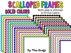 Frames - SOLIDS - 24 *FREE* scalloped frames in solid colors with both plain white fill and white fill with stitching detail that will make your resources pop!Please take a second to leave feedback!! I am just starting to attempt clipart and I'd love to know what you think! :)Commercial use okay!