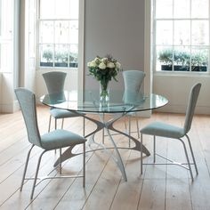 Round Kitchen Table Set for 4: a Complete Design for Small Ikea Round Dining Table, Round Glass Kitchen Table, Round Dining Room Sets, Glass Round Dining Table, Modern Dining Table, Dining Table Chairs, Table Furniture, Glass Table, Furniture Stores