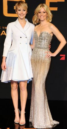 Jennifer Lawrence and Elizabeth Banks at the German premiere of The Hunger Games: Catching Fire held at the Cinestar am Potsdamer Platz movie theatre in Berlin, Germany, on November 12, 2013