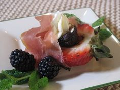 Cathy Pavlos, executive chef-owner of Lucca in Irvine, prepares summery appetizers: strawberries that have been stuffed with dried fig and mascarpone, wrapped with prosciutto. Prosciutto Appetizer, Prosciutto Recipes, Appetizer Recipes, Appetizers, Dessert Recipes, Summer Dishes, Recipes From Heaven, Summer Fruit, Fabulous Foods