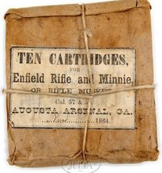 Rare Package For Confederate Rifle Ammunition From The