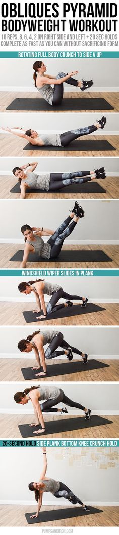 Bodyweight Pyramid Workout Targeting the Obliques | We love this workout (and leggings!) for really burning our obliques!