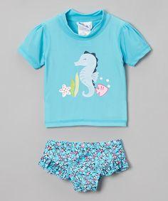 Look at this #zulilyfind! Turquoise Sea Horse Rashguard Set - Infant & Toddler #zulilyfinds
