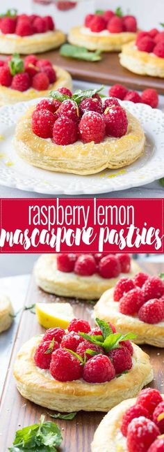 Raspberry Lemon Mascarpone Pastries - Light, flaky Puff Pastry Sheets filled with creamy mascarpone and lemon zest, topped with ripe raspberries and fresh mint - THE recipe for spring brunch! #sponsored